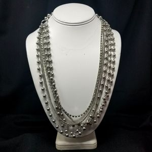 7 STRANDS CHAIN & 1 STRAND JEWELS SILVER NECKLACE